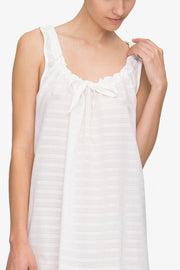 Sleeveless Nightie White Sheer Stripe