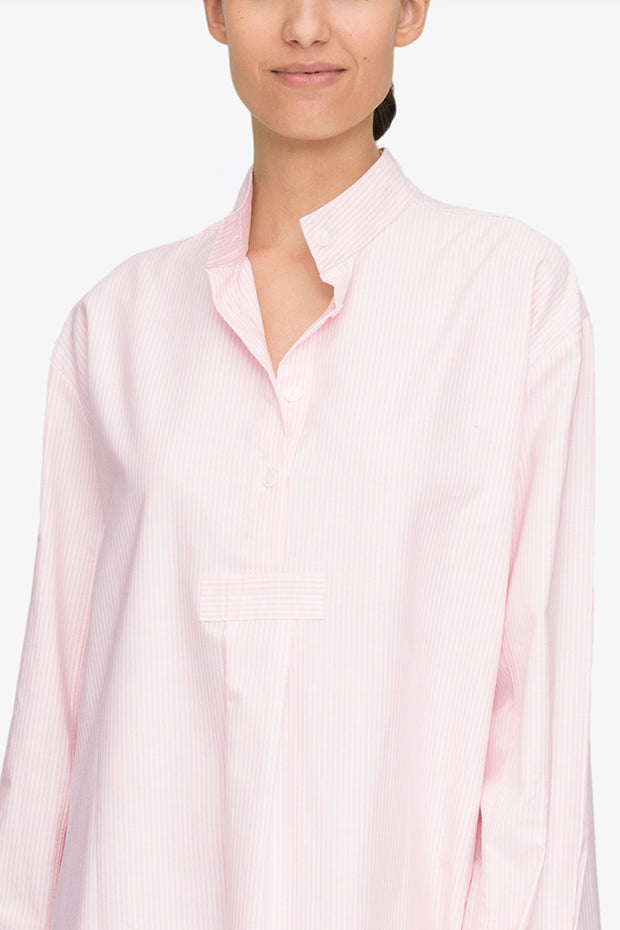 front view classic long sleep shirt pink oxford stripe cotton by the Sleep Shirt