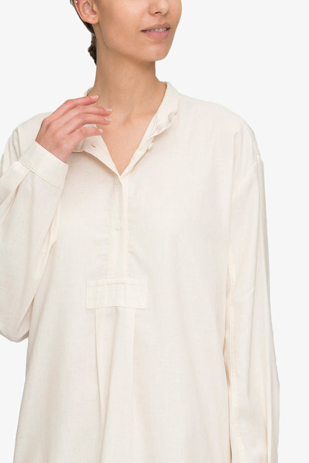 Long Sleep Shirt Cream Herringbone