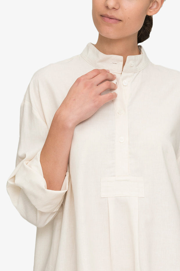 Short Sleep Shirt Cream Herringbone