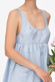 Pocket Nightie Tiny Blue Gingham