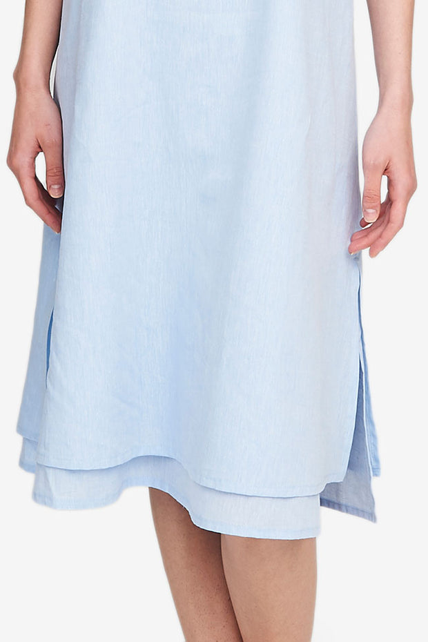 Two Layer Dress Sky Blue Linen Blend
