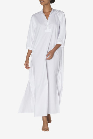 Full Length Sleep Shirt White Cotton Stripe