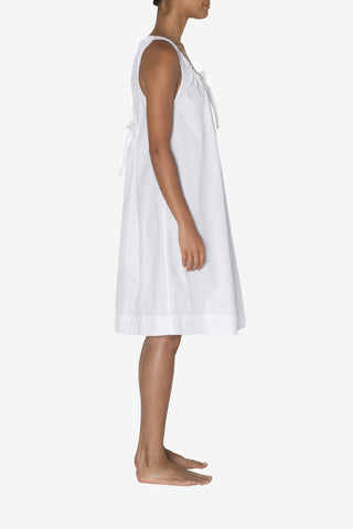 Sleeveless Nightie White Cotton Stripe