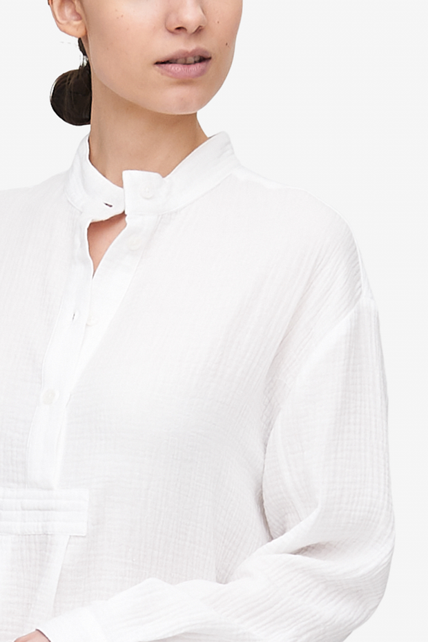 Short Sleep Shirt White Double Gauze