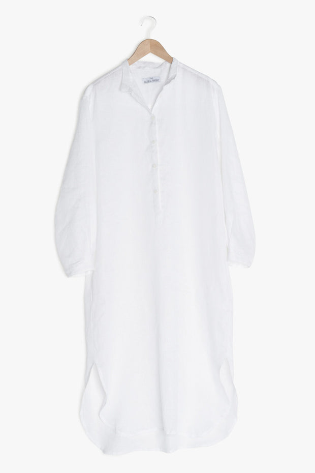 hanger view ankle length sleep shirt in white linen by The Sleep Shirt
