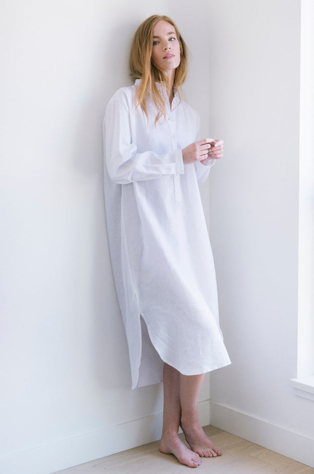editorial shot of ankle length sleep shirt in white linen by The Sleep Shirt