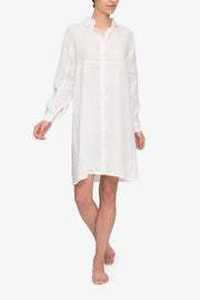 front view knee length button down sleep shirt white linen by the Sleep Shirt