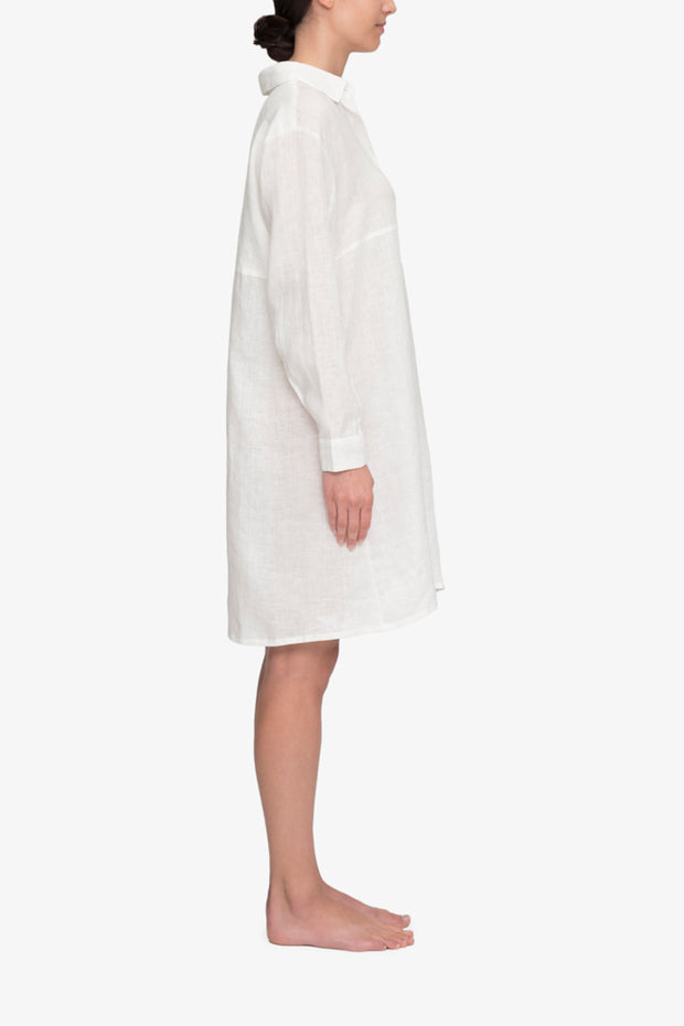 Button Down Sleep Shirt White Linen