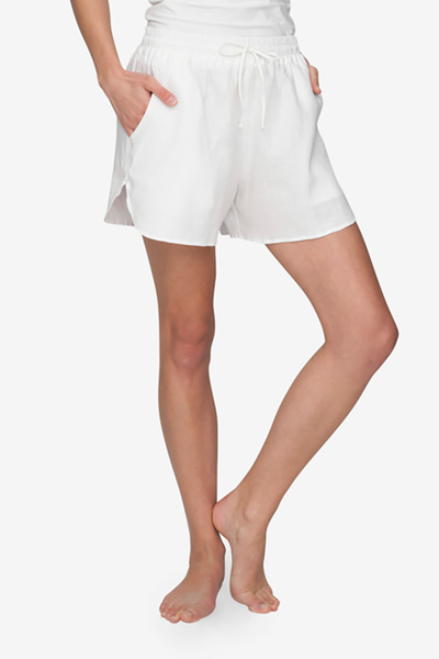 front view curved hem drawstring shorts white linen by the Sleep Shirt