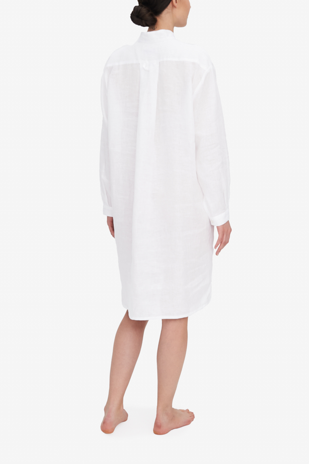 Long Sleep Shirt White Linen