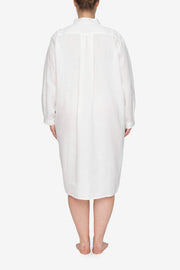 back view Plus size classic long sleep shirt white linen by the Sleep Shirt