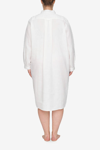 Long Sleep Shirt White Linen PLUS