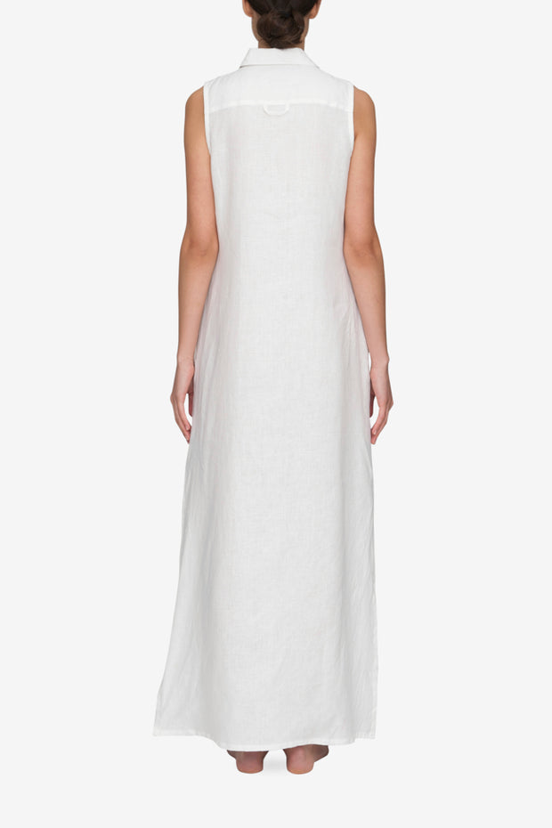 Long Sleeveless Sleep Shirt White Linen