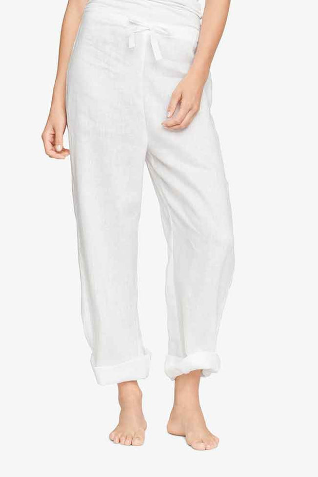 front view classic lounge pants in white linen by the Sleep Shirt
