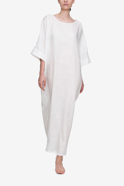 front view oversized kaftan white linen by The Sleep Shirt