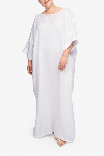 Oversized Kaftan White Linen PLUS