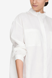 Placket Sleep Shirt White Linen