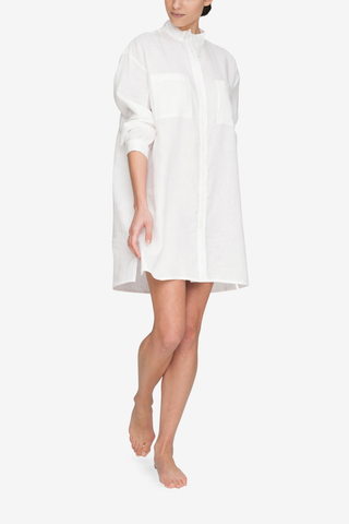 front view placket sleep shirt white linen by the Sleep Shirt