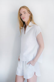 Shawl Collar Top White Linen
