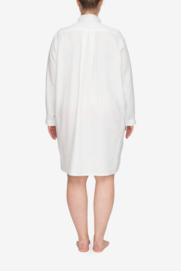 back view plus size classic short sleep shirt white linen by the Sleep Shirt