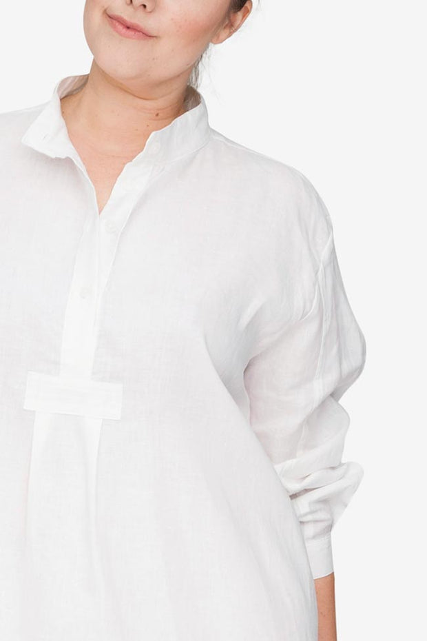 front cropped view plus size classic short sleep shirt white linen by the Sleep Shirt