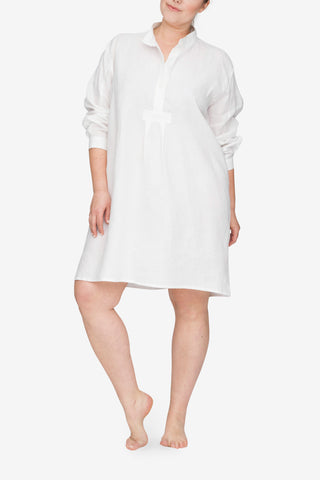 front view plus size classic short sleep shirt white linen by the Sleep Shirt
