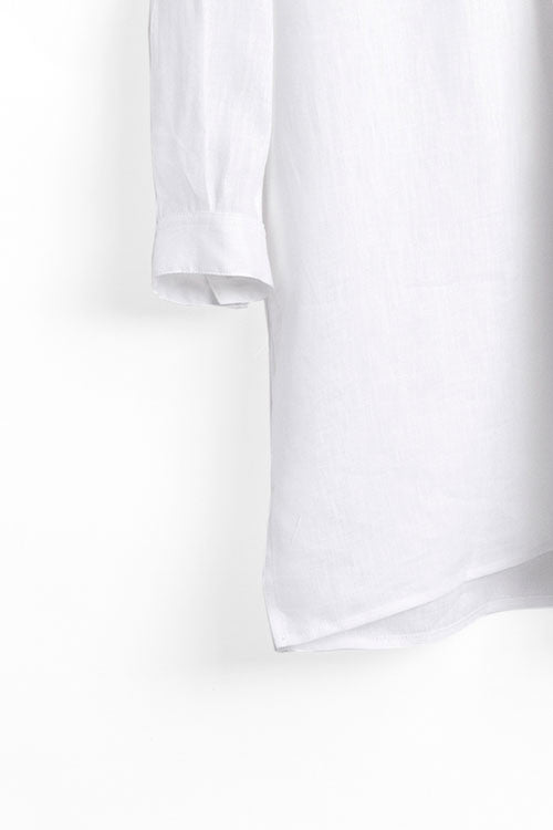 Short Sleep Shirt White Linen - EUROPE