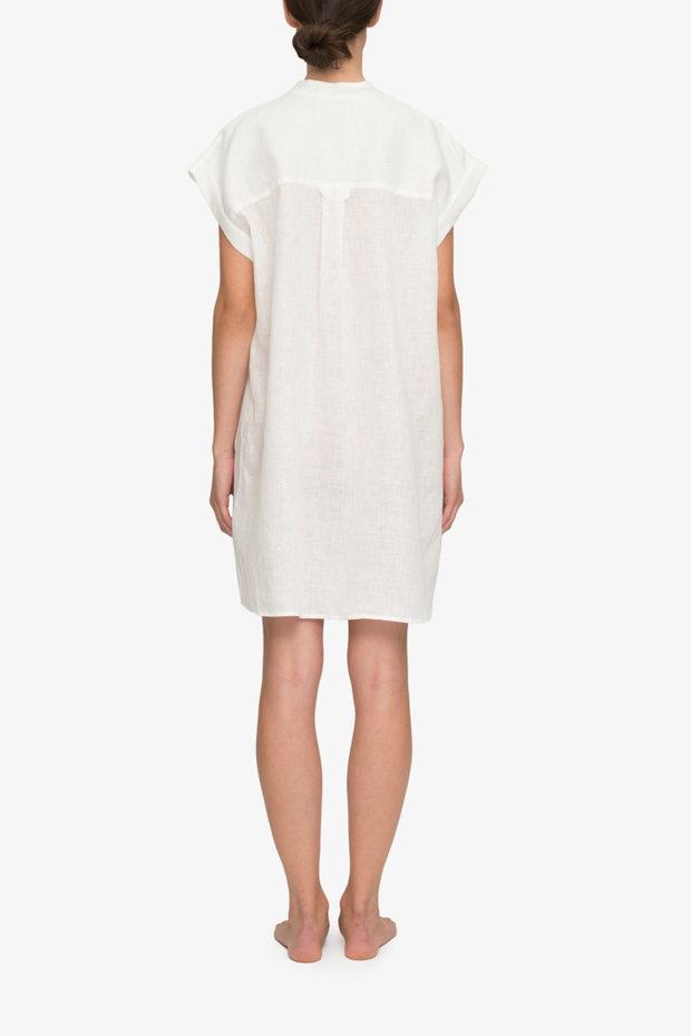 back view knee length button down tshirt with pockets in white linen by the Sleep Shirt