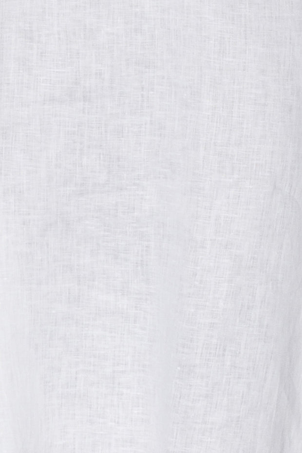 Gathered Neck Top White Linen