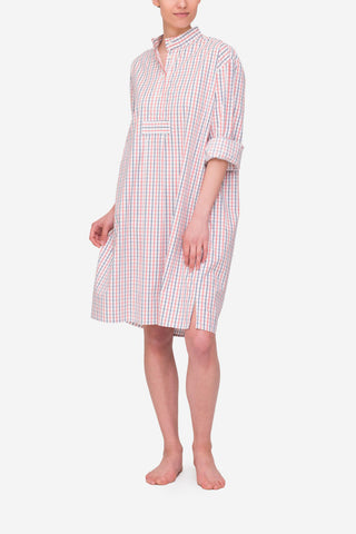 Long Sleep Shirt White Multi Check