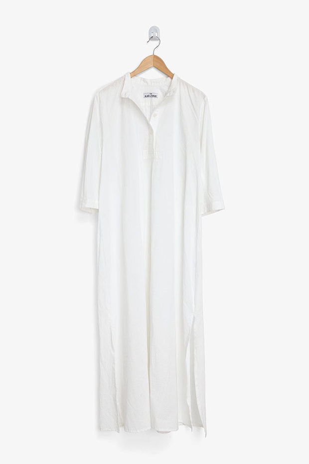 Full Length Sleep Shirt White Seersucker