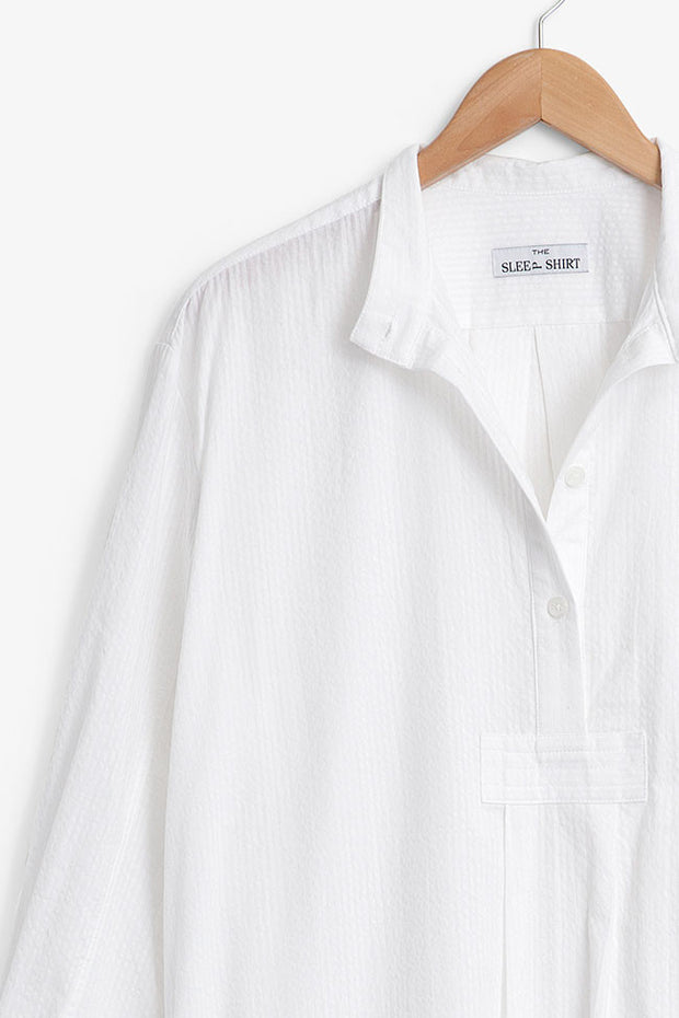 Short Sleep Shirt White Seersucker