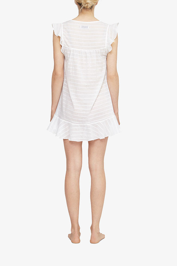 back view nightie with flounce sleeve white sheer stripe cotton by the Sleep Shirt