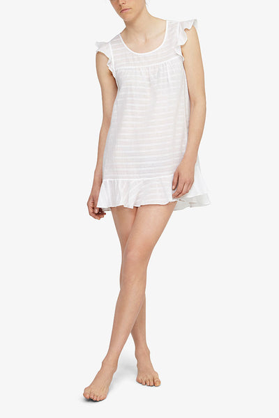 front view nightie with flounce sleeve white sheer stripe cotton by the Sleep Shirt