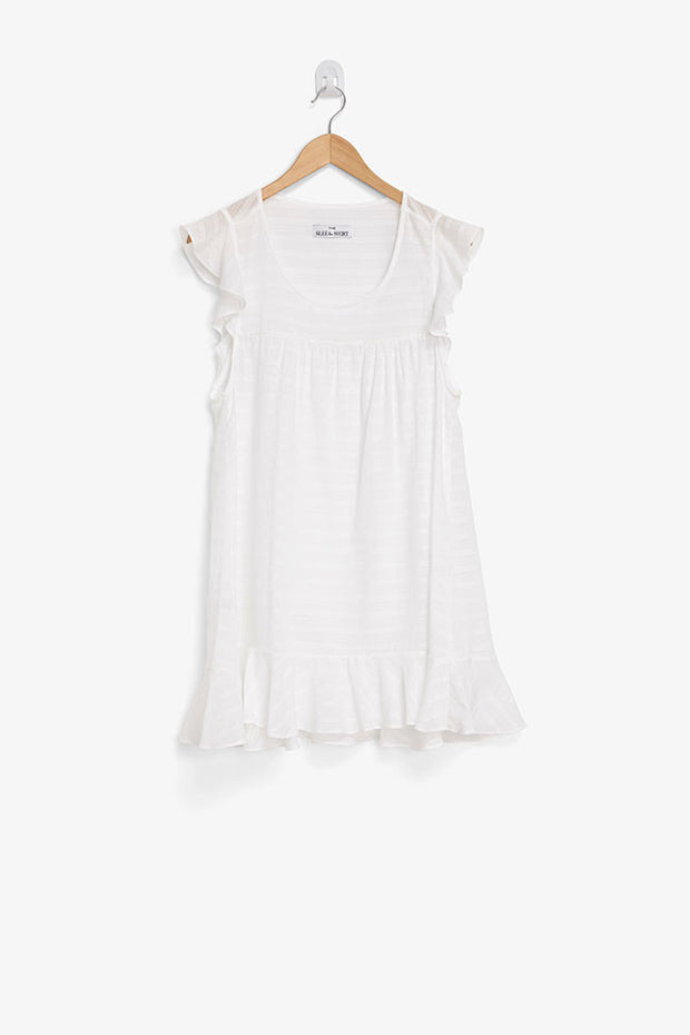 Flounce Tunic White Sheer Stripe