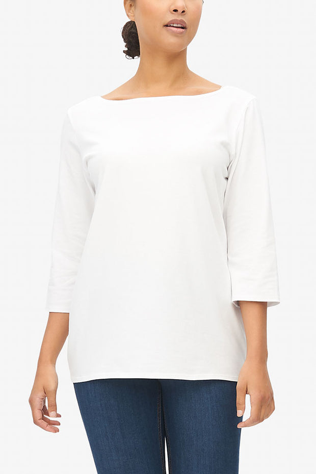 Boat Neck T-Shirt White Stretch Jersey
