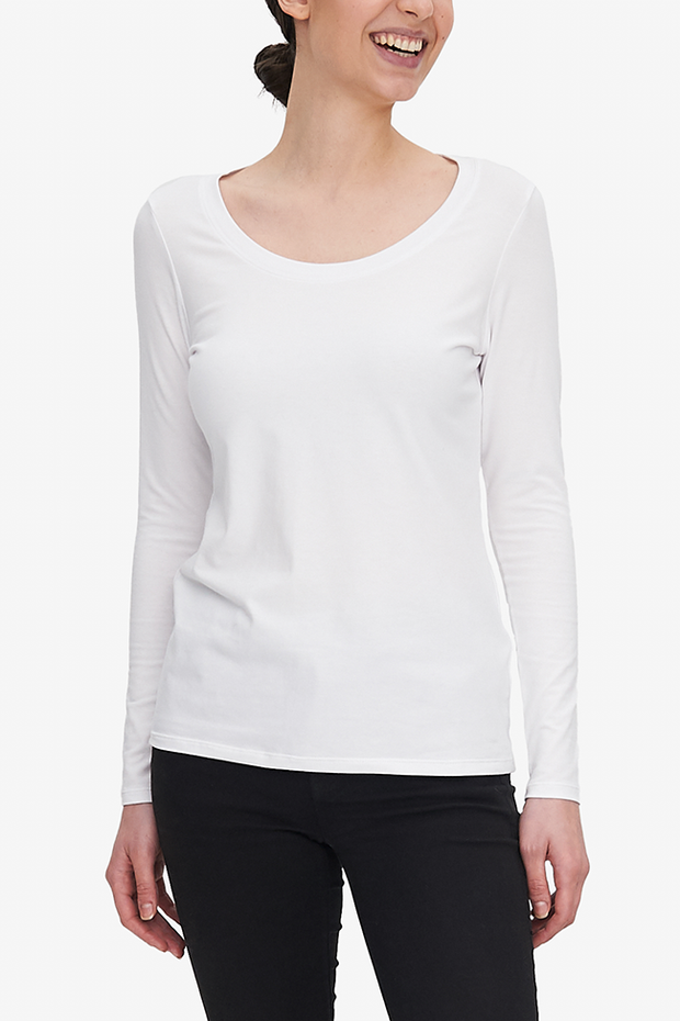 Long Sleeve Scoop Neck T-Shirt White Stretch Jersey