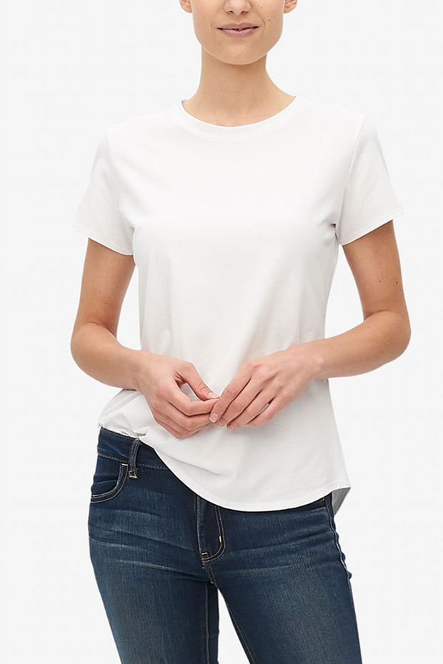 Short Sleeve Crew Neck T-Shirt White Stretch Jersey