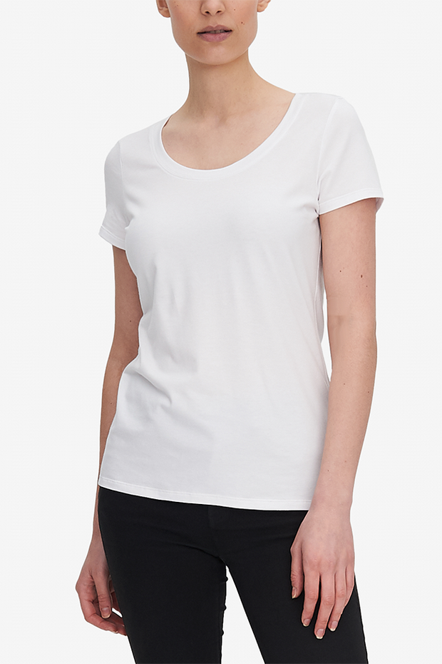 Short Sleeve Scoop Neck T-Shirt White Stretch Jersey