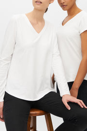 Long Sleeve V Neck T-Shirt White Stretch Jersey
