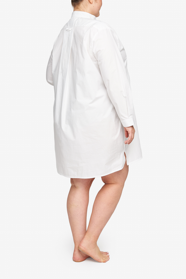 Short Sleep Shirt Washed White Poplin PLUS
