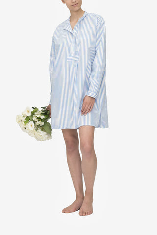 Short Sleep Shirt Wide Blue Stripe