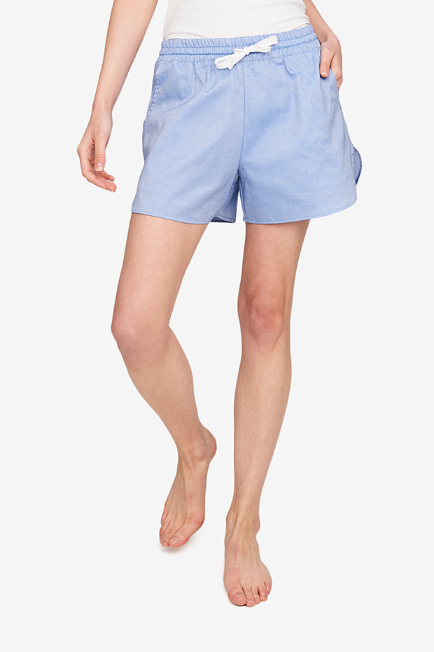 Curved Hem Short Blue Classic Oxford