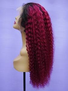 Ombre Wine Bohemian Curl Full Lace Wig