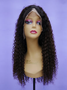 Ombre Walnut Brown Bohemian Curl Full Lace Wig