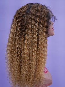 Ombre Honey Blonde Bohemian Curl Full Lace Wig
