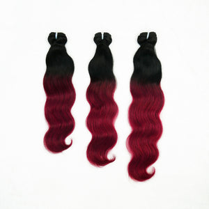 Mongolian Donor Ombre Wine Body Wave Hair Bundles (high quality)
