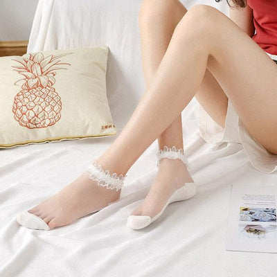 Lace Crystal Silk Breathable Boat Socks (3 pairs)