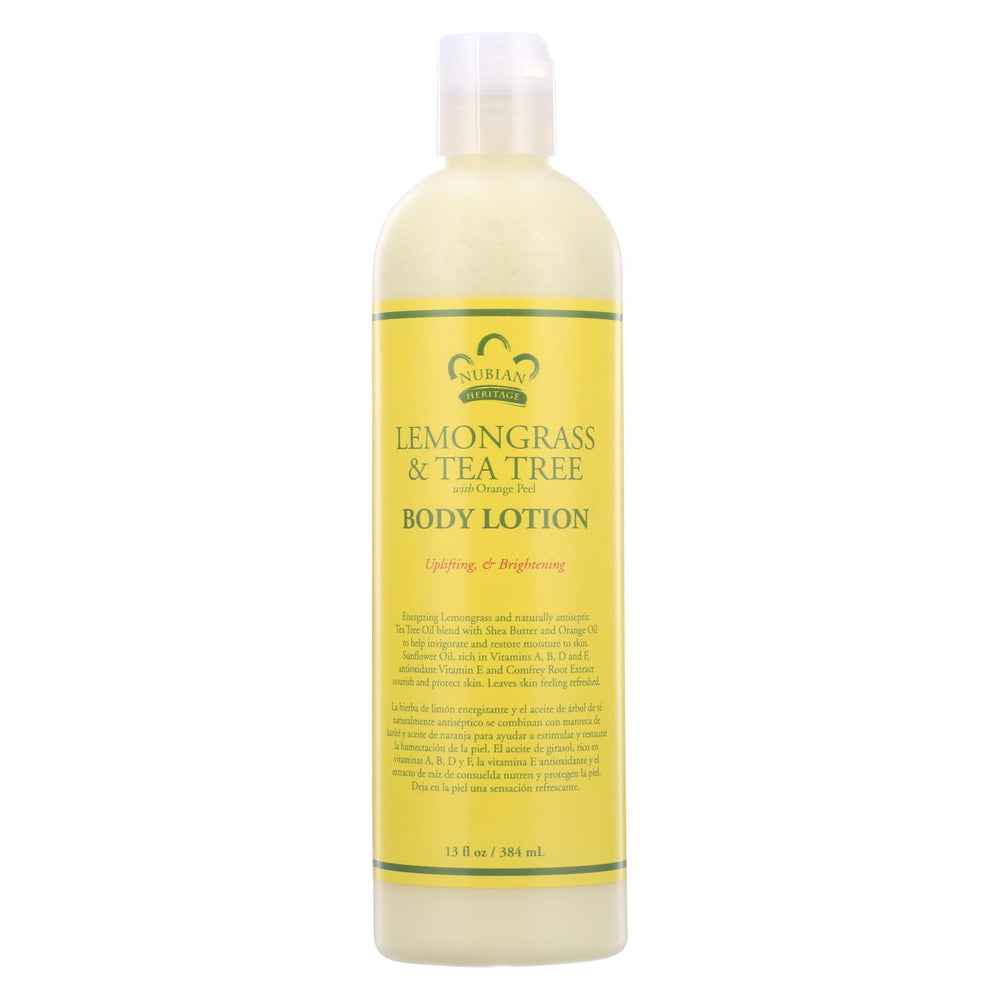 Nubian Heritage Lotion - Lemongrass And Tea Tree - 13 Oz
